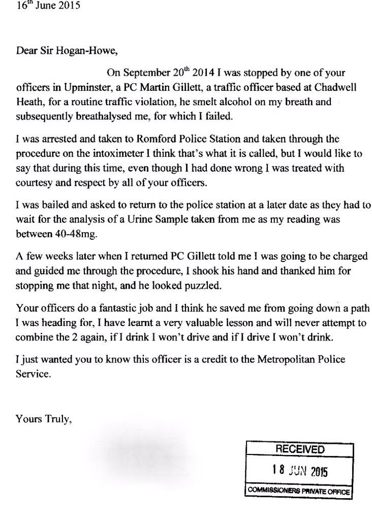 how to write a letter to officer in charge