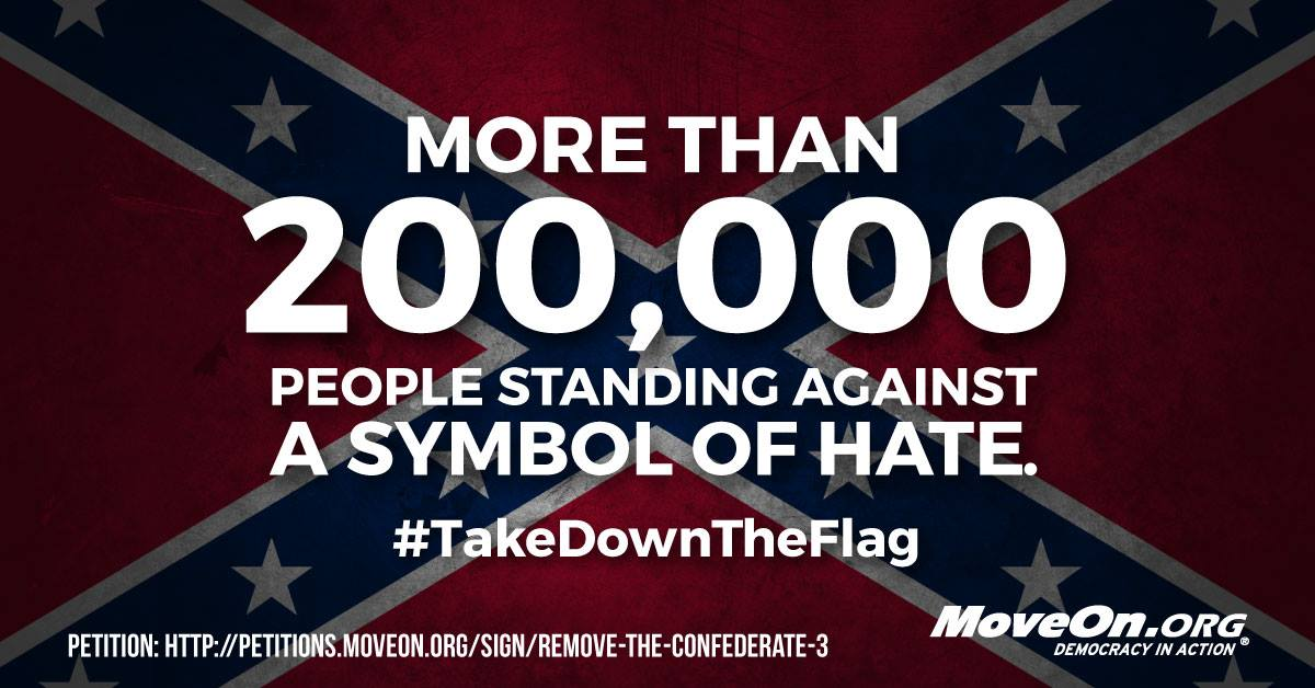 """""""@SusanMaylone: More than 200k signed petition to #TakeDownTheFlag! Join them: http://t.co/T6FbBFt5Eg http://t.co/wMpevdmzgT"""" @UniteBlueCA"""