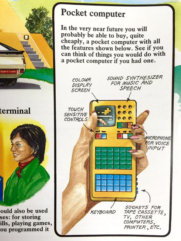 """I took & uploaded this photo with my pocket computer. (from """"Usborne Guide to Computers"""", 1981) http://t.co/fSpNC8mjvb"""