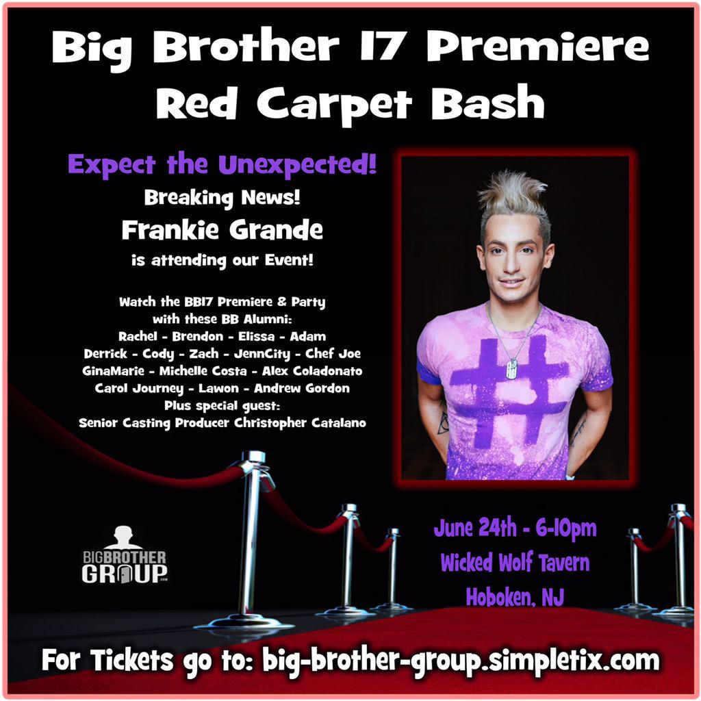 #BBfans @FrankieJGrande is attending the #BB17PremiereBash #ExpectTheUnexpected http://t.co/cA6jdQmlct #BB17 http://t.co/KbxlteN636