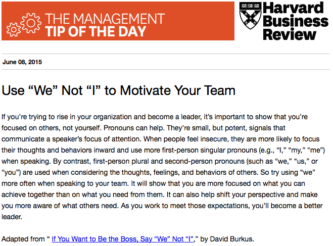 Our management tip of the day: Think about the pronouns you use when motivating people http://t.co/4KFyhuVA9A