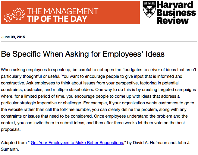 Today's management tip: Get better ideas from your employees http://t.co/MGcgVdKJdL