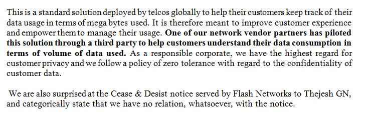 Airtel statement on C&D notice served to @thej http://t.co/gCtTnSDmLJ