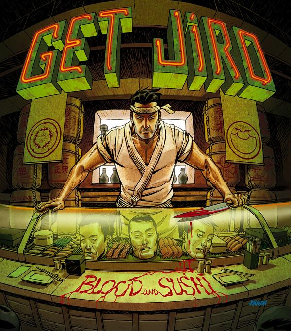 豆魚雷のブログで紹介していたバイオレンス・コミック『GET JIRO』が凄い気になる!舞台は暴力と美食に支配された近未来。寿司職人ジローが極悪料理人軍団相手にスプラッター描写満載で戦う……ってアメコミというより漫画ゴラクの世界だよ! http://t.co/RSV9frzIvm