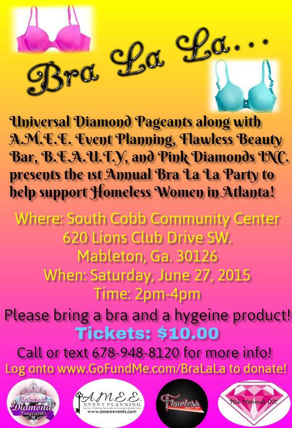 Join us at our Bra La La Party in efforts to raise awareness and donations for less fortunate women in Metro Atlanta! http://t.co/GejNS5JUG5