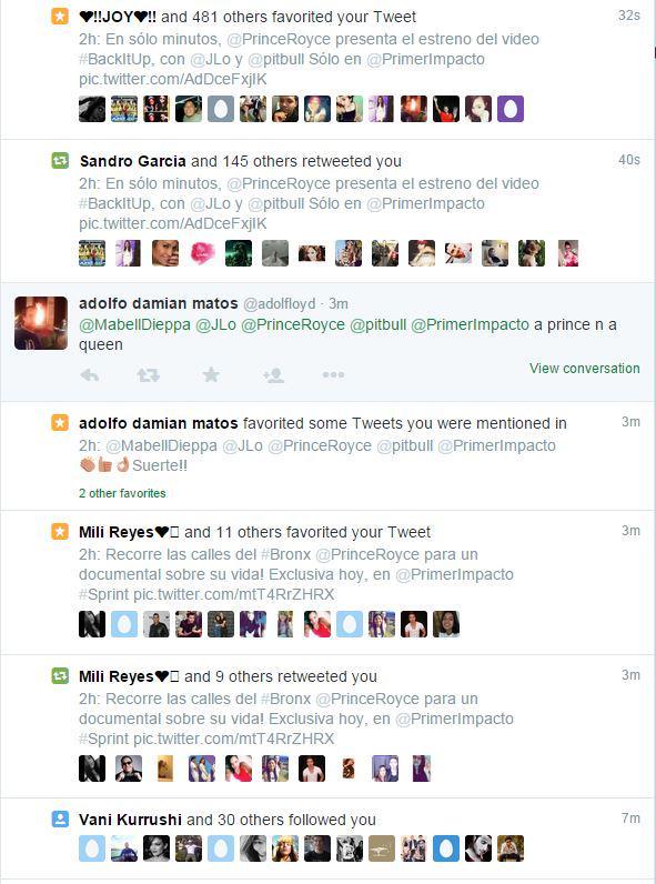 Miren la actividad que generó el estreno en @PrimerImpacto del video de @PrinceRoyce con @JLo y @pitbull! #Increible http://t.co/YsjobdbJTn