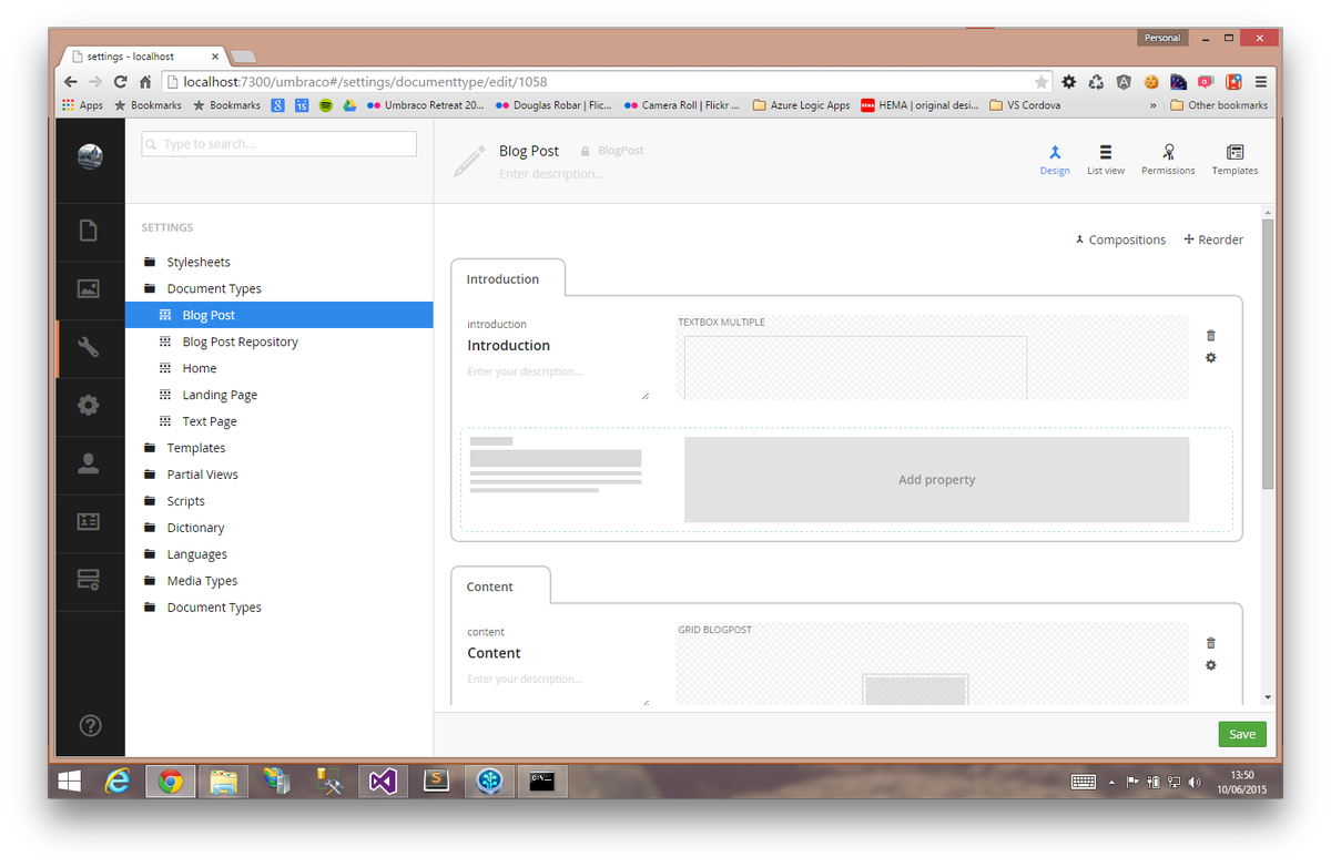 Checked out the dev-v7-contentTypeEditor #Umbraco branch. I like the new UI & layout @pploug #CG15 http://t.co/EpTfAD3cCR