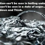 RT @Cleo_FrankJR: You can't see your reflection in boiling water nor can truth be seen in a state of anger. Be calm, reflect, then act! htt…