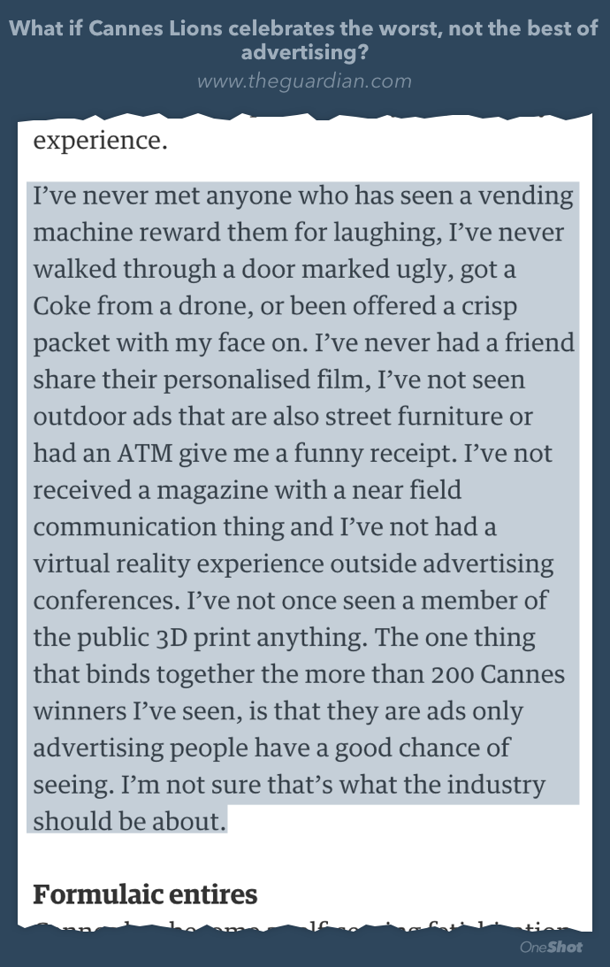 Has anyone ever personally experienced a Cannes Lions winning idea? from @tomfgoodwin http://t.co/ujHCm6CC2V http://t.co/EMMkH6b6B3