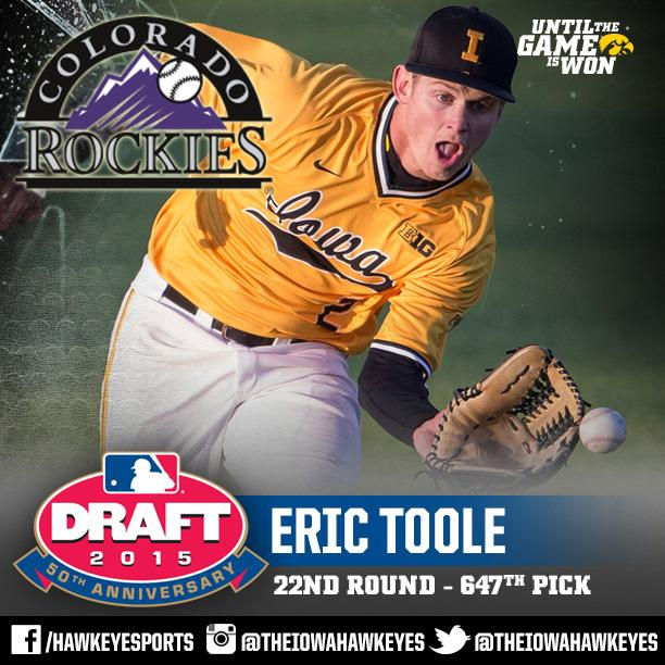 Iowa Baseball (@UIBaseball): Congrats to @EricToole on being drafted in the 22nd round by @Rockies #Hawkeyes #Hellerball http://t.co/zLZH4GwitK