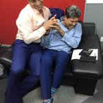 A little off-camera fun and masti...two of the finest fast bowlers of all time! http://t.co/0CZODff1q2