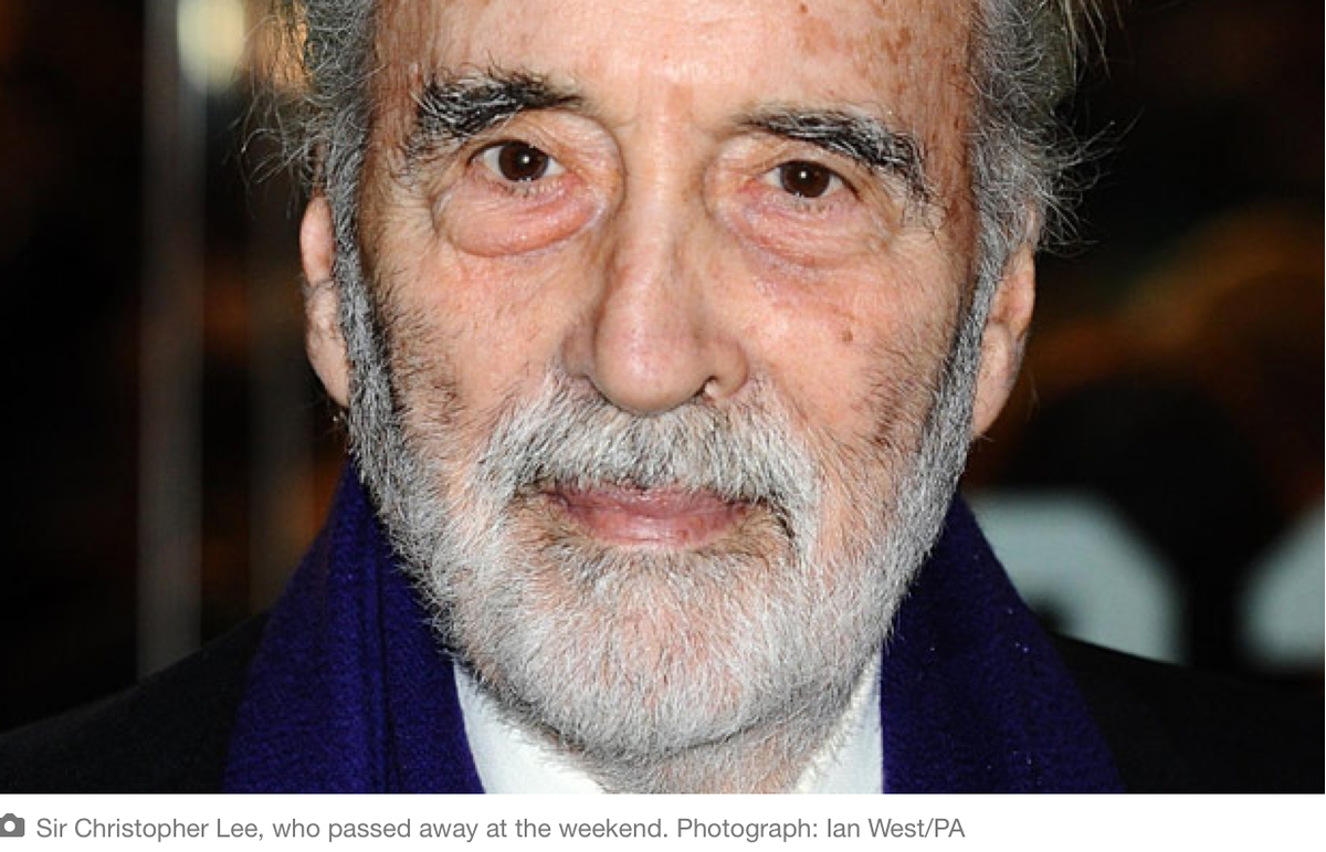 Oh no - Christopher Lee (aka Saruman, aka Count Dooku, aka Dracula) has died :-(  http://t.co/O5GAZ0i5FM http://t.co/ChGbonA8DR