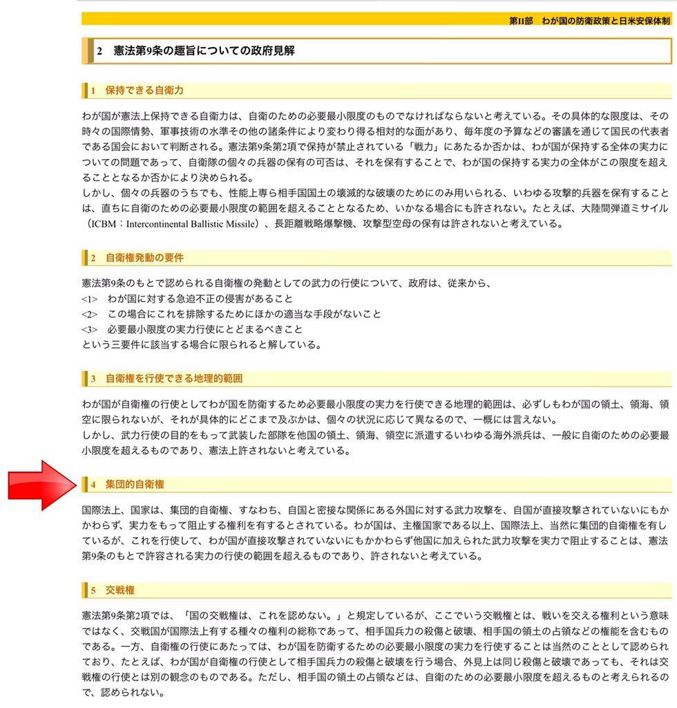 今年の2月まで、集団的自衛権は憲法違反だと明確に述べていた防衛省のホームページ。魚拓にしててよかった。 http://t.co/OQsHDMhKkb