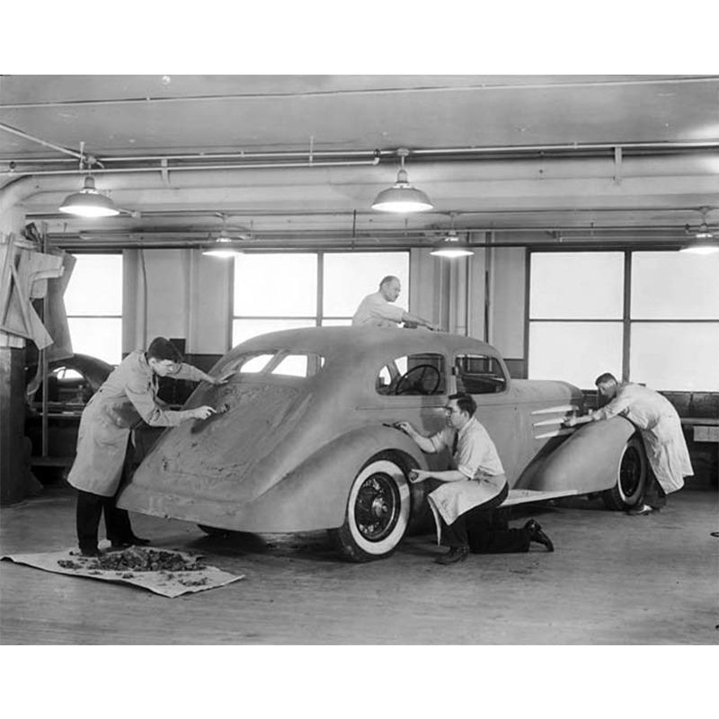 Daring History: Sculpted with care. A clay molding of the 1933 Cadillac V-16 Aerodynamic Coupe. #TBT http://t.co/PIbmjsnwTj