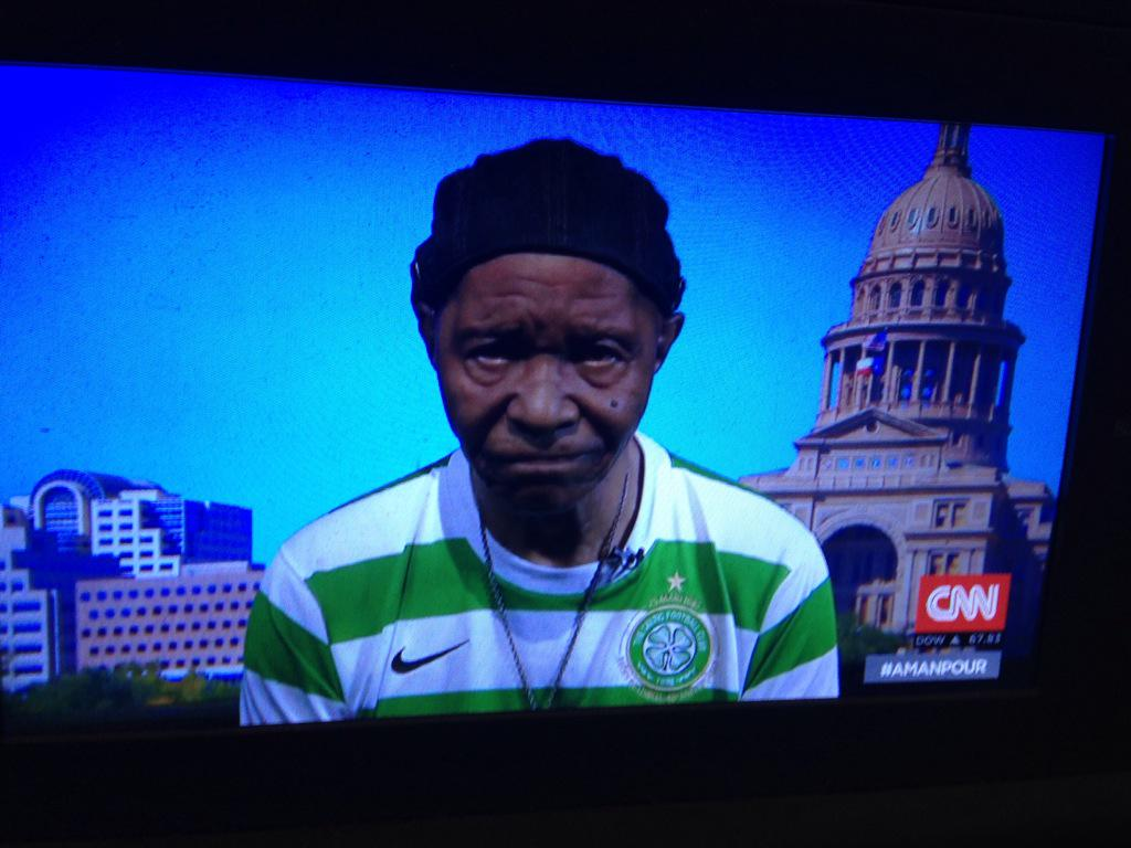 Our guest right now, Robert King-one of the Angola 3 - is wearing the 40th anniversary European Cup Final Celtic top! http://t.co/dPhMBxp37r