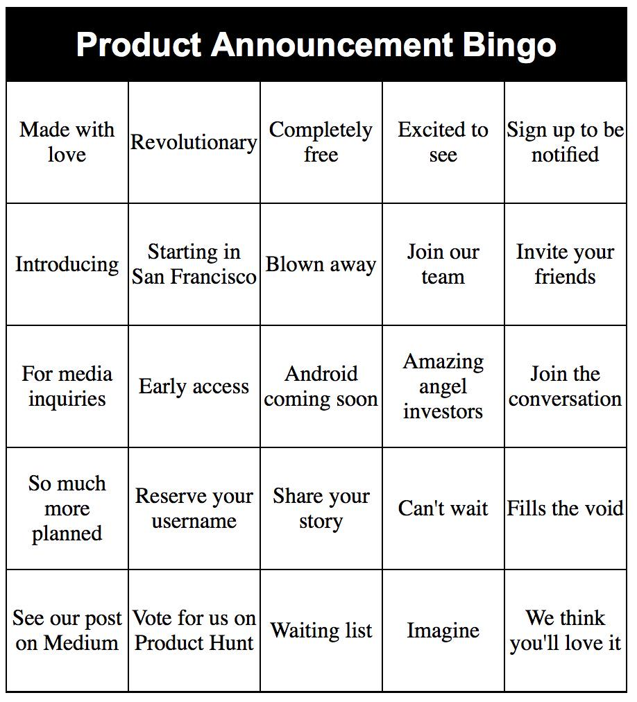Product Announcement Bingo http://t.co/tCuqOu4B0S