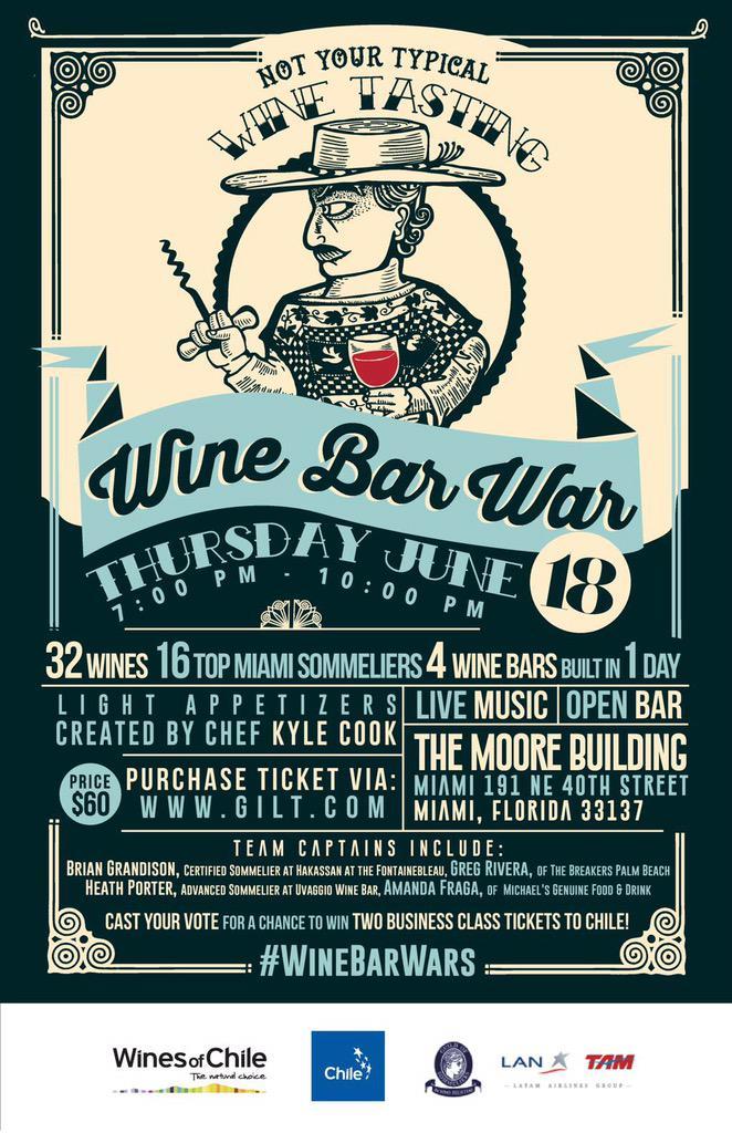 To-do 6/18: #WineBarWar w/ @UvaggioWine @HakkasanMiami @MGFD_MIA @#TeamElHuaso @DrinkChile http://t.co/nMRzA4dlXm http://t.co/dBFy2WCS3g