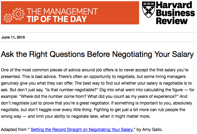 """Our management tip of the day: """"Always negotiate for a higher salary"""" is bad advice http://t.co/t33kebpj7w"""