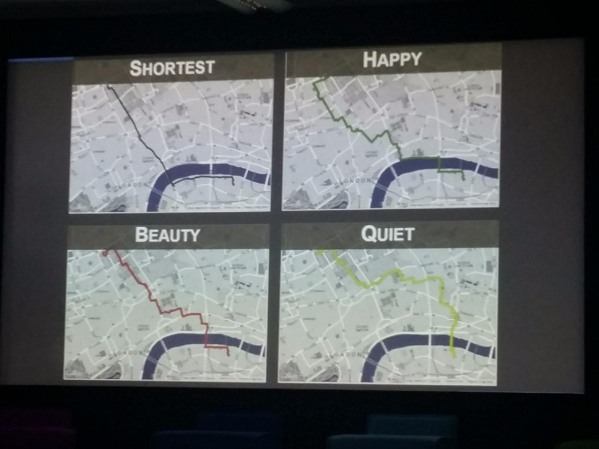 Quercia: Maps should offer different paths (based on crowdsourced research) that are more pleasurable #imaginefest http://t.co/DHIj73H93H