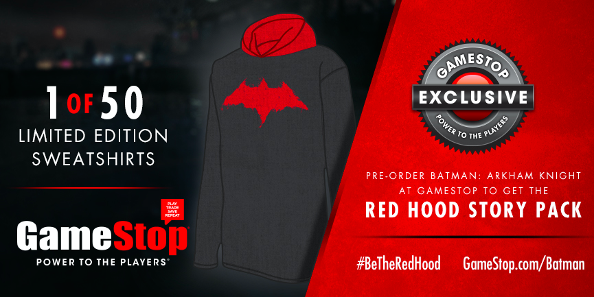 GameStop (@GameStop): The time has come to #BetheRedHood. RT for a chance to win a Red Hood sweatshirt! http://t.co/IYn88Ddxss #Sweepstakes http://t.co/SyyCrAzbks