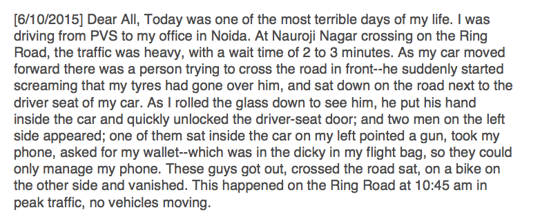 Prasanto K Roy (@prasanto): My Gurgaon neighbour, a senior pilot, was robbed at gunpoint on Delhi's  Ring Road, in morning rush-hour traffic http://t.co/rLmI06a0bE