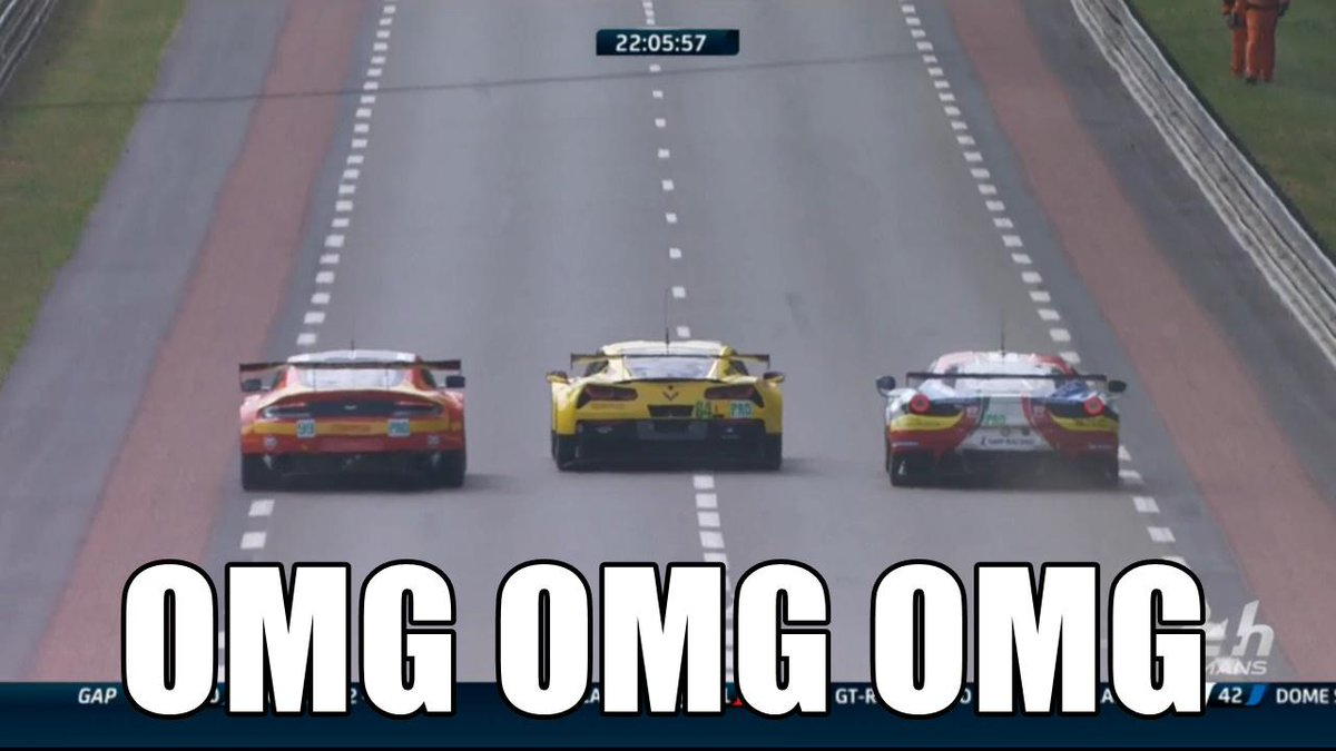 Sure. Let's go three wide. #LM24 @CorvetteRacing @AMR_Official @FerrariRaces http://t.co/wfllKC6D6V