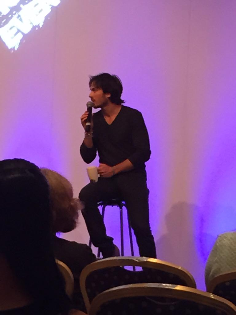 @iansomerhalder on stage earlier with his cup of tea #insurgence7 http://t.co/lBE7x99pE9