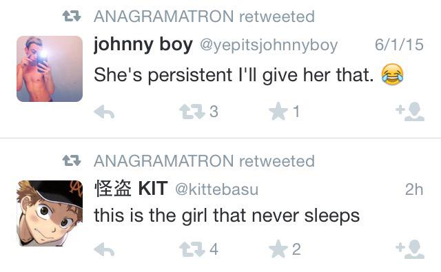 So, @anagramaton trawls Twitter for tweets that form anagrams of each other (emoji excluded). This one blows my mind: http://t.co/vbrk5mXkwq