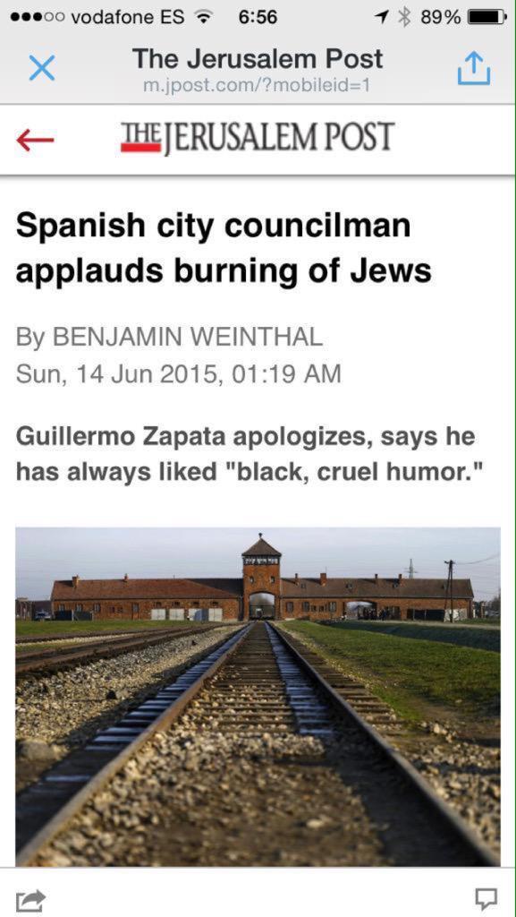 Los medios internacionales se hacen eco de los intolerables chistes del concejal #Zapata #ZapataDimision http://t.co/rlZ9tTk2nB