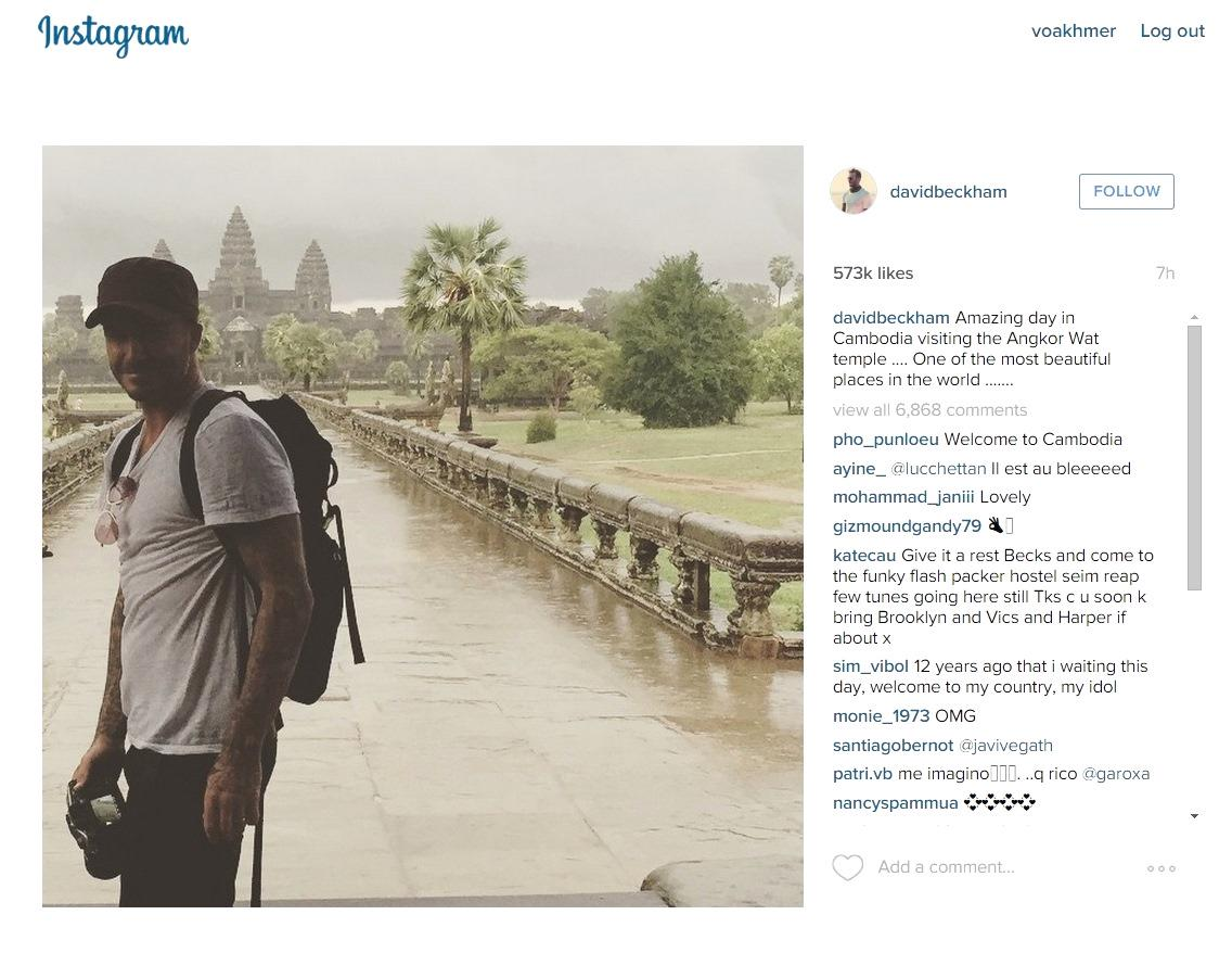 Football superstar #DavidBeckham is in #Cambodia, according to his #Instagram account. https://t.co/SdTju1M2DL http://t.co/4FTS3Cj9Sg