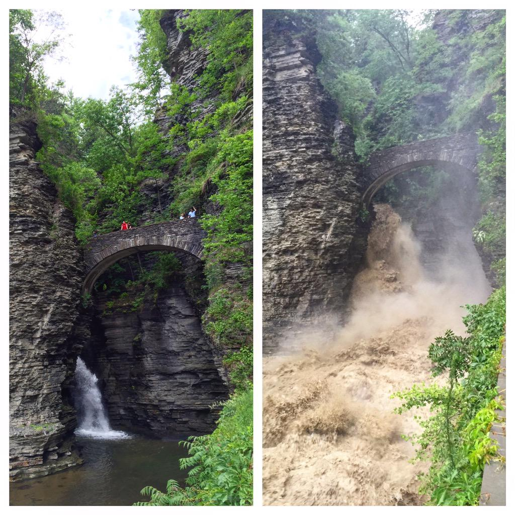 Earlier today when we hiked Watkins Glen vs. current flood status. http://t.co/bnw78curZE