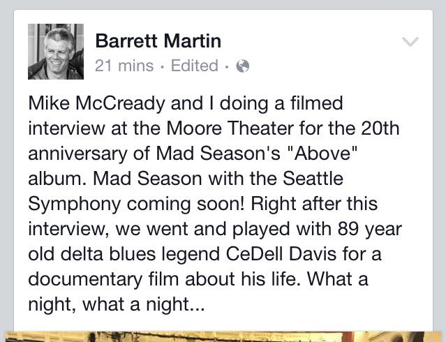 Barrett Martin confirms @MadSeasonMusic Seattle Symphony (featuring @chriscornell) live album via his Facebook page. http://t.co/Hsj7o61VmO