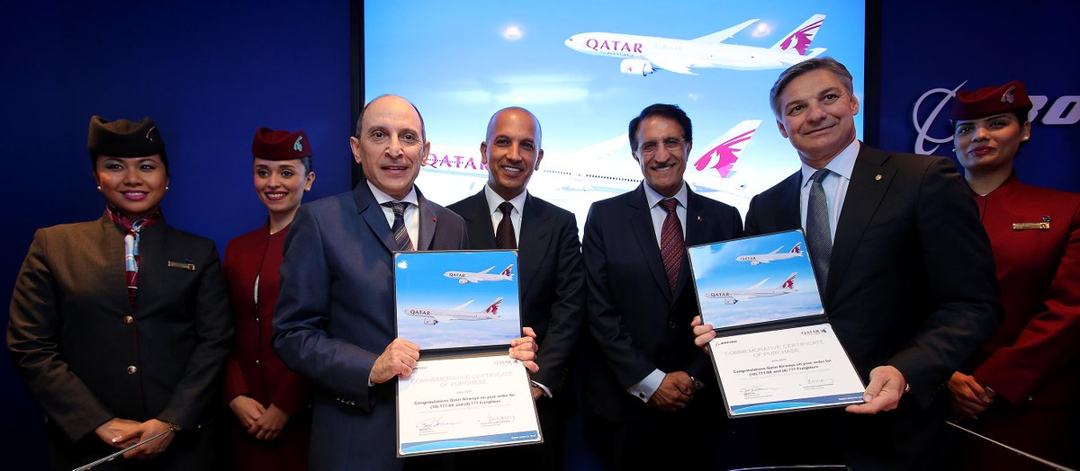 QatarAirways and @BoeingAirplanes announce a firm order of 14 aircraft at PAS15.