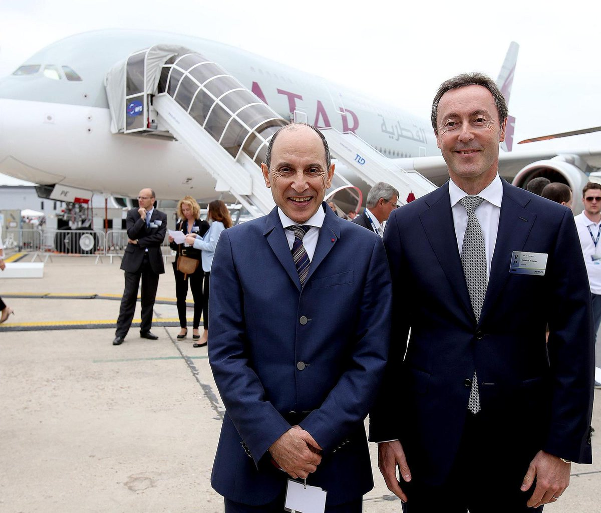 A selection of QatarAirways' fleet showcased on the opening day of PAS15.