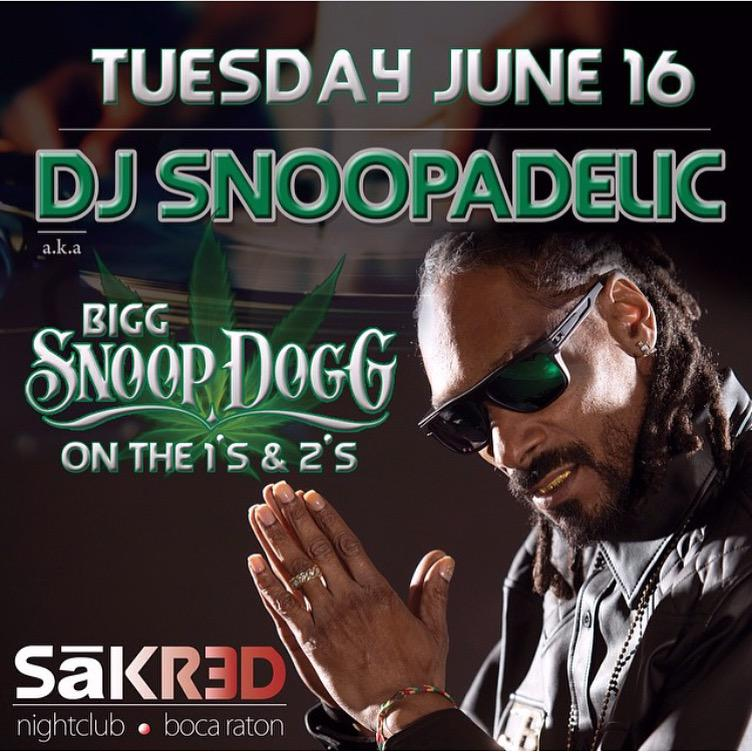 Florida !! Catch me #DJSNOOPADELIC live @SakredNightclub tomorrow June 16 ! http://t.co/xHwzC1g2ra