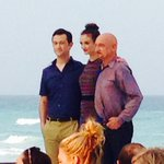 #TheWalk stars @hitRECordJoe Charlotte Le Bon & Sir Ben Kingsley at @summerofsony photocall in Cancun