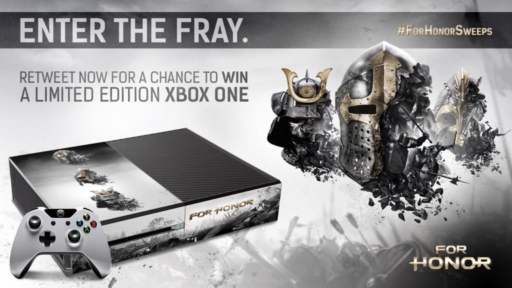 Retweet for a chance to win a limited edition @ForHonorGame Xbox One! https://t.co/mybJmTPuis #ForHonorSweeps || http://t.co/1hBAMf0sL3