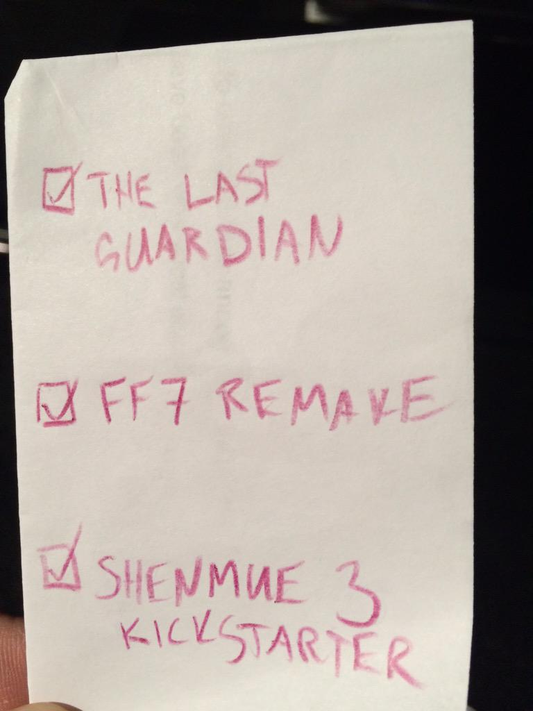 Checklist complete. #PlayStation #E3 #BestNightEver http://t.co/bR1zwTpoB3