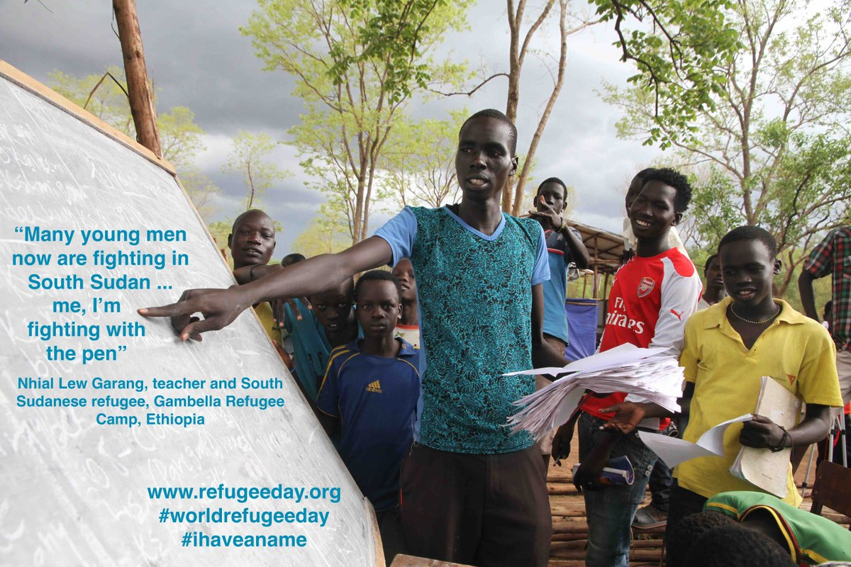 'Many young men now are fighting in #SouthSudan. I'm fighting with the pen' Nhial, teacher +refugee #worldrefugeeday http://t.co/nulPJl9zLF