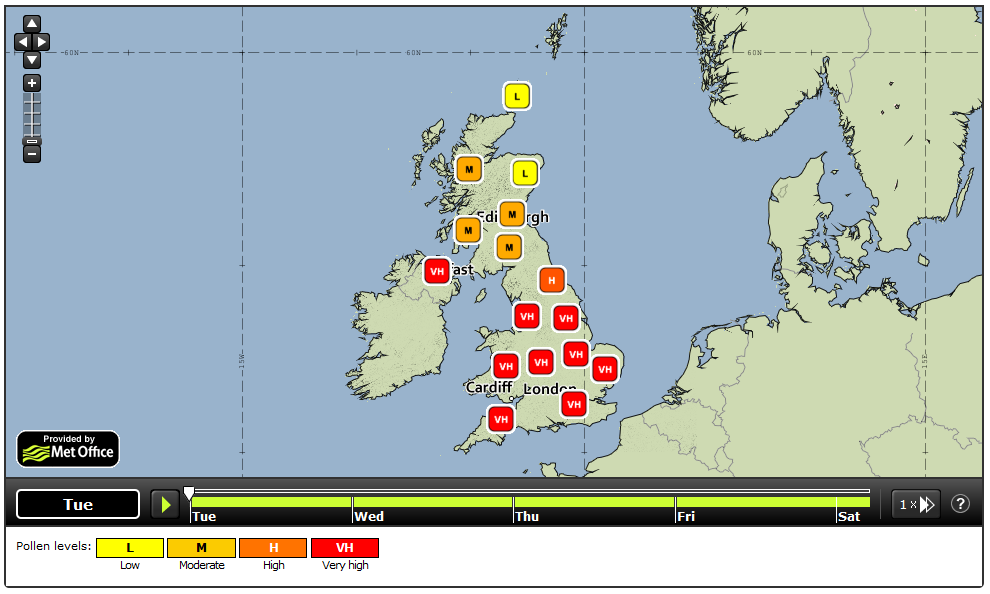 RT @metoffice: Itchy throat? Runny nose? It's bad news for #hayfever sufferers this week as #Pollen levels are VERY HIGH http://t.co/sQ8VVsbbP6