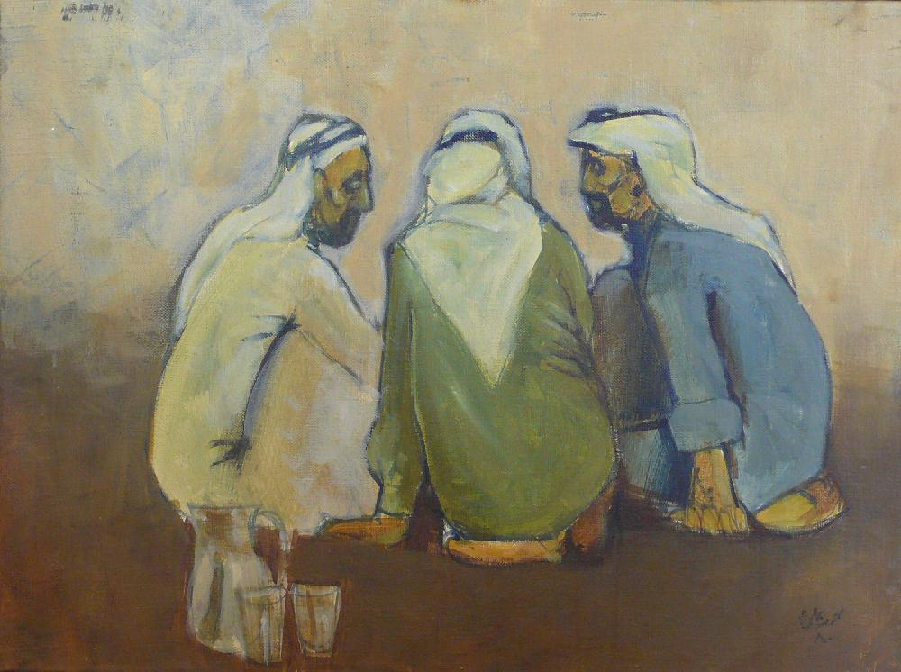 "Mohammed Ali Abdulla, ""Breaking the fast"", 1980, oil on canvas, 45 x 60 cm. Coll. Mathaf, Doha. Ramadan Kareem http://t.co/LRN5XnaJ5I"