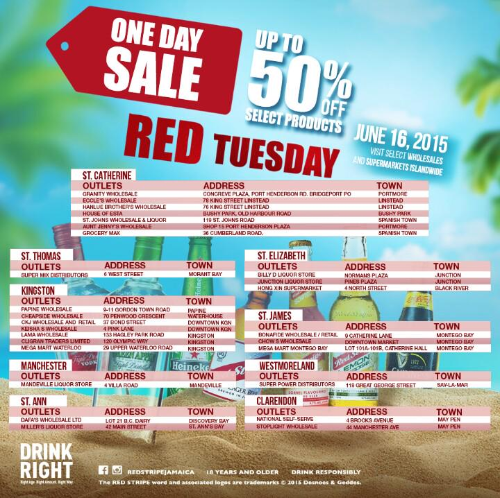 #Guinness drinkers in #Jamaica, today's #RedTuesday! Enjoy up to 50% off for today only at the following locations! http://t.co/OF5sYADRsW