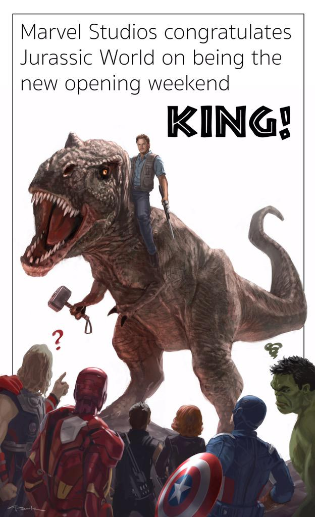 Marvel Congratulates 'Jurassic World' on Defeating the Avengers http://t.co/1ccSVCQ8Am http://t.co/1AiuYUYetd