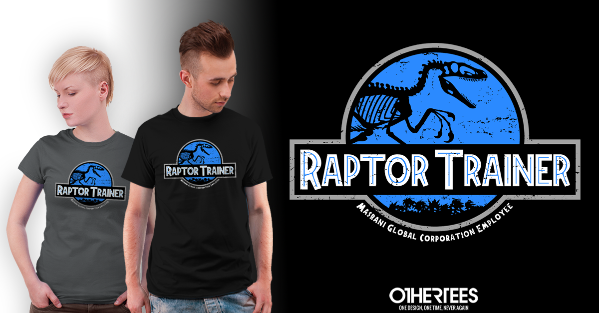 """Get """"Raptor Trainer"""" tee at http://t.co/a7WXRHGMGs! RT for a chance at FREE TEE! #jurassicworld http://t.co/Gp9nidRv7r"""