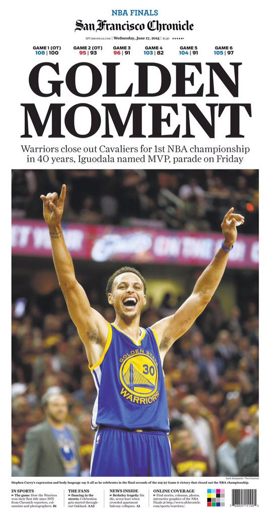 As a lifelong @warriors fan, from Sarunas to Adonal, this @sfchronicle front page is just surreal. #DubNation http://t.co/117VSo8OSf