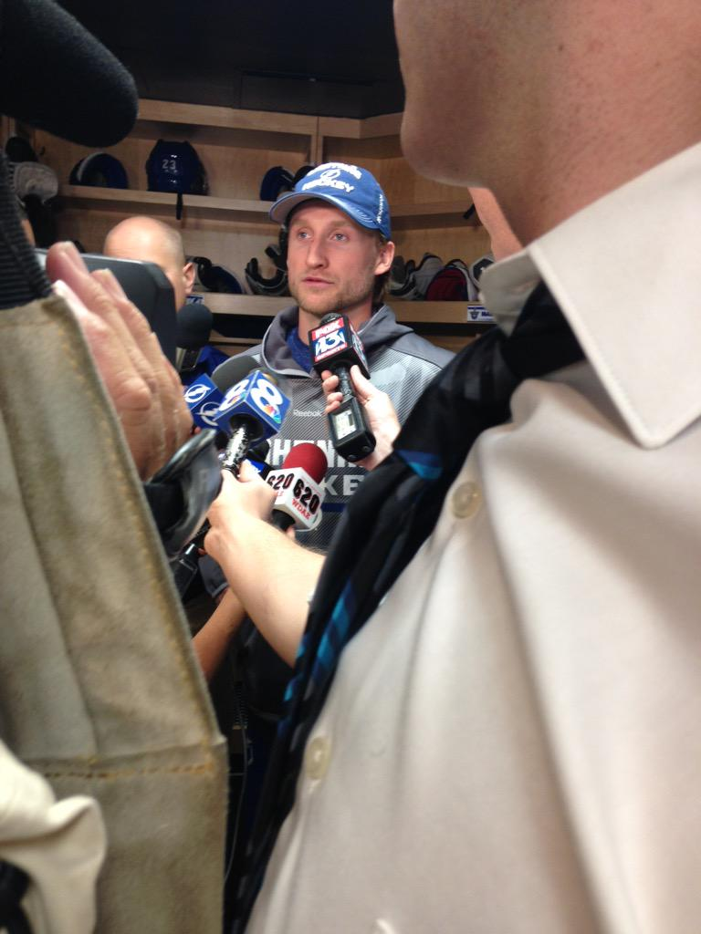 """Stamkos got a LOL from room -->On not touching Wales Trophy for luck: """"if we're back here next year, I'll touch it."""" http://t.co/zLeTrQS3LY"""