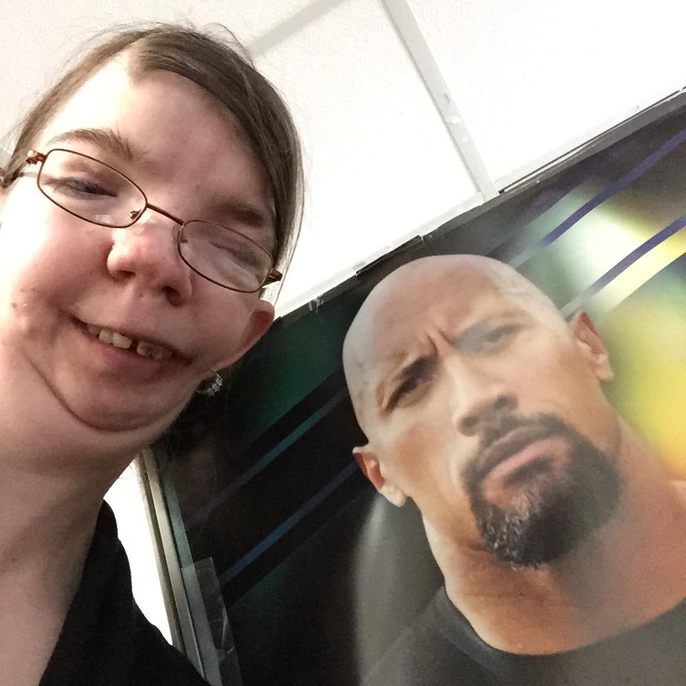 Took this poster #Selfie with @TheRock don't we make a cute couple? LOL http://t.co/sGVn726zN9