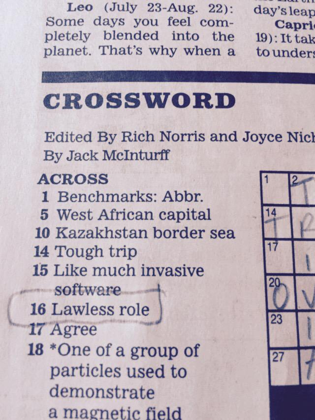 Look who made today's LA Times crossword @RealLucyLawless