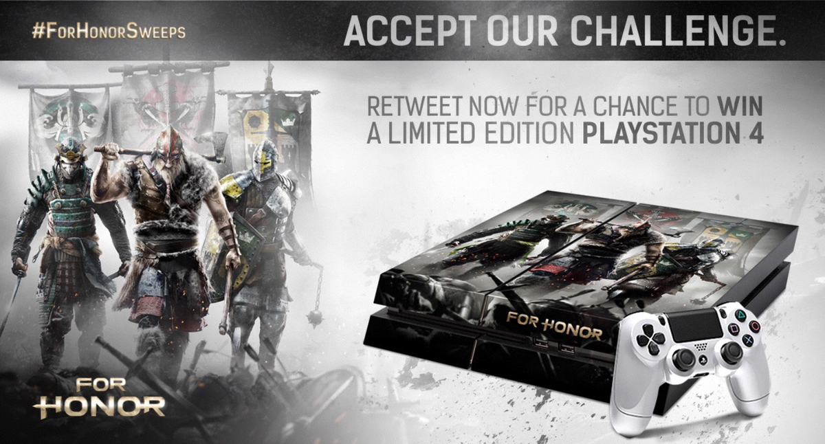 Watch our trailer https://t.co/mybJmTxTqU & RT for a chance to win a limited edition #ForHonor PS4! #ForHonorSweeps | http://t.co/86tmKOpBfX
