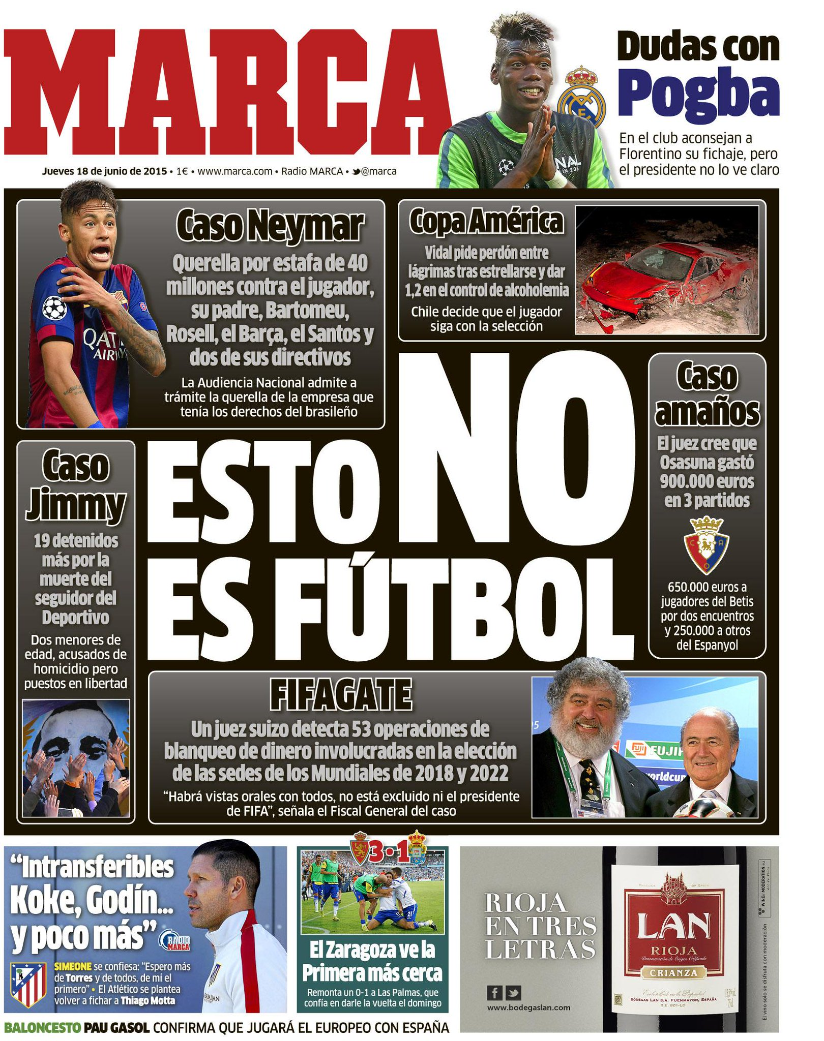 'Esto NO es fútbol' #LaPortada http://t.co/iZeeJxppSR